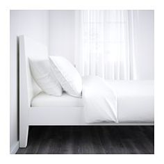 IKEA - NORDLI, Bed frame, Luröy, Standard Double, , If you read or watch TV in bed the angled headboard is comfortable to lean against.Adjustable bed sides allow you to use mattresses of different thicknesses.17 slats of layer-glued birch adjust to your body weight and increase the suppleness of the mattress.