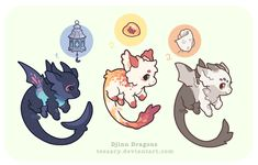 Drajinn Set 2 // Customs by tessary on DeviantArt Mystical Animals, Mythical Creatures Art, Cute Creatures, Fantasy Creatures, Character Inspiration, Character Art, Character Design, Cute Animal Drawings, Kawaii Drawings