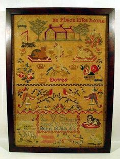 Antique Victorian Embroidery NEEDLEPOINT SAMPLER Child's Framed Animals No Place Like Home
