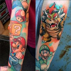 Mario sleeve done by @adamhawkestattoo. #tattoo #ink #sleeve #videogametattoo…