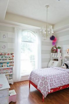 Grey Striped Walls in a Modern Meets Shabby Chic Big Girl Room