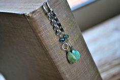 Fuchsite Chain Earrings  Beaded Boho Wire Wrapped  by letemendia