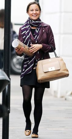 For an afternoon stroll in London, Pippa accessorized her casual ensemble with a Milli Millu bag and Tory Burch's caramel-hued Dakota Bow-Tie Loafers. Scoop up the shoe for $184 (down from $275) at bergdorfgoodman.com. She also wore a Beautiful Bottoms scarf, available for $120 at beautifulbottoms.com.
