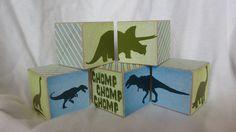 Dinosaur Dino Wood Blocks Boys Nursery Room Decor by TheBlockSpot, $26.25