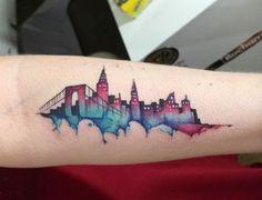 New York skyline watercolour tattoo by June Jung
