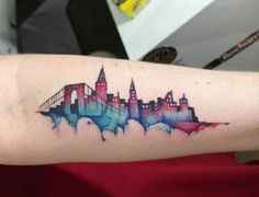 New York skyline watercolour tattoo by June Jung
