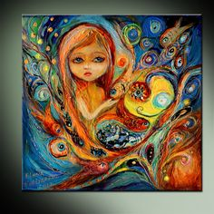 """Original fairy fantasy art ready to hang wall canvas print of """"Little fairy"""" series big eyed girl for nursery room decor - Artwork - Cross Paintings, Original Paintings, Original Art, Canvas Wall Art, Wall Art Prints, Canvas Prints, Big Canvas, Beta Fish Drawing, Little Girl Gifts"""