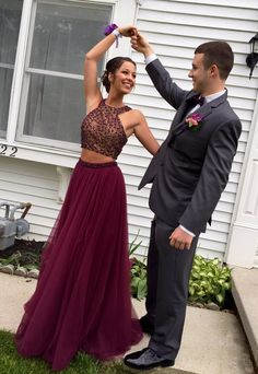 Stylish burgundy two pieces prom dress,A-line beading