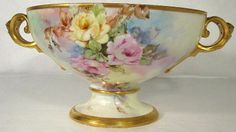 Amazing Rosenthal Hand Painted Porcelain Handled Pedestal Punch Bowl ~ from theverybest on Ruby Lane