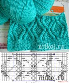 Узор спицами из ромбов » Ниткой - вязаные вещи для вашего дома, вязание крючком, вязание спицами, схемы вязания