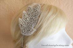 Leaf Crystal Rhinestone on Silver Metal Headband by lovelikestyle, $27.00