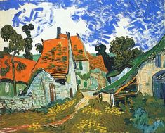 Post Impressionist leading into Modernism - van Gogh was a lightning bolt of inspiration! Street in Auvers-sur-Oise - Vincent van Gogh Vincent Van Gogh, Van Gogh Art, Art Van, Henri Matisse, Diy Poster, Print Poster, Desenhos Van Gogh, Van Gogh Pinturas, Van Gogh Paintings