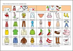 MATERIALES - Tableros de comunicación: Ropa y complementos 2.  Se compone de varios tableros para adultos con dificultades en la expresión. La finalidad es cubrir las necesidades básicas del día a día: alimentación, vestido, emociones, aseo, salidas, acciones…y poder comunicarlas. Puede servir también para al interlocutor para preguntar.  http://arasaac.org/materiales.php?id_material=678