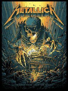 'Metallica at Twickenham, London, UK' by Dan Mumford. Arte Heavy Metal, Heavy Metal Rock, Heavy Metal Music, Heavy Metal Bands, Metal Music Bands, Metallica Wallpapers, Band Wallpapers, Music Artwork, Metal Artwork