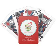 Happy Owlidays Christmas Santa Hat Holiday Owl Bicycle Playing Cards - typography gifts unique custom diy