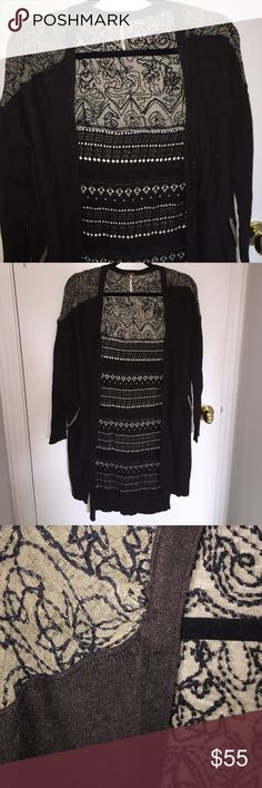 Free People Sweater Long FP sweater with lace top. Back has cutout detail. Small snag on right should seam. Picture enclosed. Free People Sweaters Cardigans