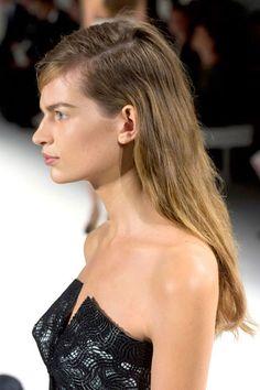 Calvin Klein Hair Trend - Deep Side Part/Rough Waves - Best Hair Trends for Spring 2013 - Harper's BAZAAR