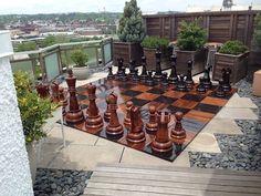 """MegaChess Teak Chess Set with a 36"""" King"""
