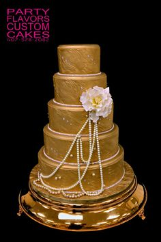 Gold bling, pearls & some dazzle! Just one of the many display cakes at our shop. Want to replicate this look?
