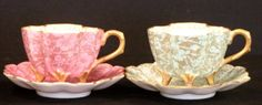 44: PAIR OF T.V. LIMOGE TEA CUPS AND SAUCERS : Lot 44