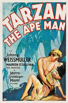 Tarzan the Ape Man - Vintage Movie Poster, classic posters, free download, free posters, free printable, graphic design, movies, printables, retro prints, theater, vintage, vintage posters, vintage printables