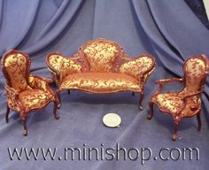 Miniature dollhouse furniture Victorian Locust Hill Sofa Set, 3pcs, Mahogany finished wood. One inch scale. By Bespaq Miniatures.