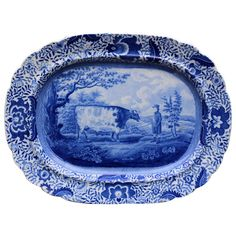 Antique Blue And White Pottery Charger Durham Ox Pattern English C1820~♥~