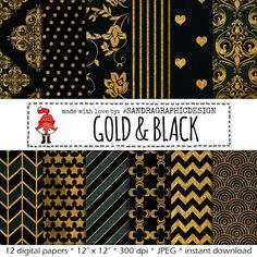 Damask digital paper: BLACK & GOLD with by SandraGraphicDesign