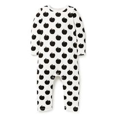 Cotton/Elastane blend Jumpsuit. Features all over apple yardage print. Regular fitting silhouette with snaps on baby