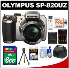 Olympus Stylus SP-820UZ iHS Digital Camera (Silver) with 8GB Card + Case + Batteries & Charger + Tripod + Accessory Kit by Olympus. $299.95. Kit includes:♦ 1) Olympus Stylus SP-820UZ iHS Digital Camera (Silver)♦ 2) PD-C10 Camera/Camcorder Case♦ 3) Transcend 8GB SecureDigital Class 4 (SDHC) Card♦ 4) PD 4x AA Batteries & Charger ♦ 5) PD Flexible Tabletop Mini Tripod ♦ 6) PD Memory Card Storage Wallet ♦ 7) PD USB 2.0 SecureDigital (SDHC) High-Speed Memory Card Reader