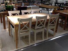 Table IKEA Nornas bois massif pin rallonge 6 8 10 personnes