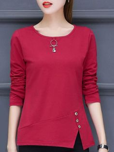 Round Neck Side Vented Plain Long Sleeve T-Shirts - Kleidung Kurta Designs, Blouse Designs, Hijab Fashion, Fashion Dresses, Fashion Sewing, Blouse Dress, Blouse Styles, Blouses For Women, Casual Tops For Women