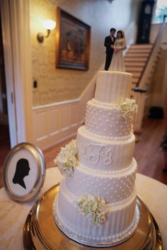 Wedding at Duncan Estate  www.DuncanEstate.com  Five tier white wedding cake with swiss dots and pleats and hydrangea accents