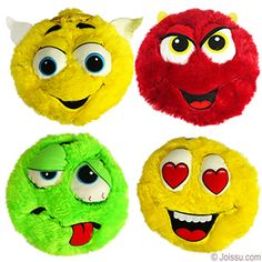 PLUSH COLORFUL FURRY EMOJIS. With embroidered and appliqué features, these crazy stuffed emoji toys will delight any stuffed animal collector. Assorted styles and colors.  Size 10.5 Inches