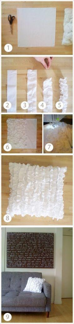 DIY ruffle pillows. Idea to add ruffle to my shower curtain.