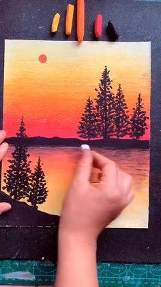 Art Drawings Beautiful, Art Drawings For Kids, Art Drawings Sketches Simple, Oil Pastel Drawings Easy, Oil Pastel Art, Canvas Painting Tutorials, Diy Canvas Art, Art Painting Gallery, Crayon Art
