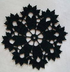 Gothic Black Crochet Doily in Thread by Acadian Crochet,