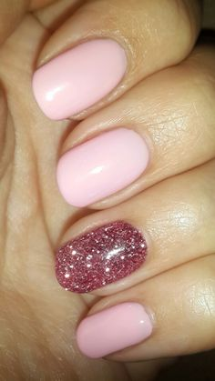 Natural pink with glitter gel nails