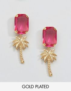 Gogo Philip Gold Plated Palm Tree Gem Earrings - Pink