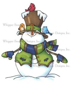 Whipper Snapper Designs Cling Stamp 4 X 6 In. Santos for sale online Christmas Crafts To Make, Christmas Rock, Homemade Christmas, Christmas Snowman, Christmas Ornaments, Xmas, Christmas Drawing, Christmas Paintings, Snowman Images