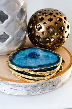 $80 USD Blue agate coasters are a royal to navy blue, some with teal hues with white to light blue marbling and