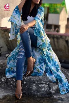 Buy White Printed Long Shrug by Colorauction - Online shopping for Shrugs in India Stylish Work Outfits, Casual Skirt Outfits, Stylish Dresses, Fashion Dresses, Shrug For Dresses, Sleeves Designs For Dresses, Nice Dresses, Long Dresses, Long Shrug