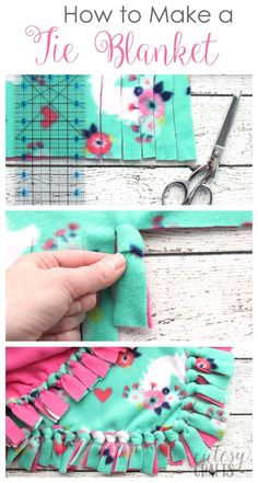 How to Make a Tie Blanket from Fleece is part of Sewing fleece - Learn how to make a tie blanket from fleece the best way! The knots in this method turn out so tidy and make beautiful and easy fleece tie blankets Diy Tie Blankets, No Sew Fleece Blanket, Fleece Blankets, Diy Baby Girl Blankets, Fleece Blanket Edging, Homemade Blankets, Flannel Baby Blankets, Flannel Quilts, Make Blanket