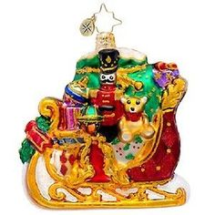 Radko LITTLE GEMS Dashing thru the Snow Gem Sleigh toys Christmas ornament NEW for SALE!