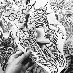 Ozzy Tattoo, Neo Tattoo, Tattoo Ink, Traditional Tattoo Old School, Traditional Tattoo Flash, Valkyrie Tattoo, Dibujos Tattoo, Girl Face Drawing, Geometric Tattoo Arm