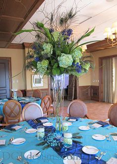 Peacock flower Centerpieces