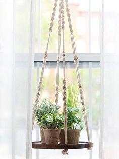 Hanging Wooden Plant Shelf