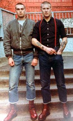 Skinheads Skinhead Men, Skinhead Boots, Skinhead Fashion, Skinhead Style, Mod Fashion, Fashion Moda, Punk Jackets, Skin Head, Bomber Jacket Men