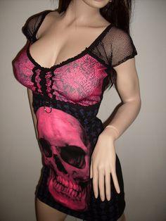 DIY+Pink+Skull+Mini+Dress+CORSET+Gothic+Heavy+by+spookyscloset,+$57.95