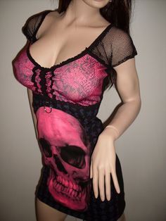 Pink and Black Skull mini dress by spookyscloset ~ that's one SeXy Mannequin too!!